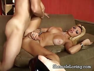 Busty shemale takes it in her big butt blowjob guy fucks shemale shemales