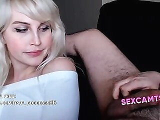 Perfect Blonde Tgirl and Guy Cock Frottage shemale and guy shemale